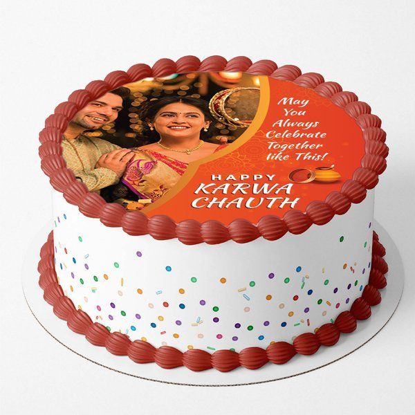 Buy CakeZone'S Customizable Photo Karwa Chauth Wishes for Couple Cake from HalfCute online