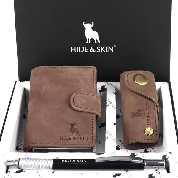 Hide & Skin Velvet Brown Leather Card Holder, Velvet Brown Leather Keychain and Multifunctional Pen Combo Box Useful Gifts For Husband