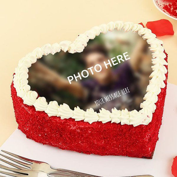 CakeZone Premium Heart Shape Photo Cake Personalized Anniversary Gifts