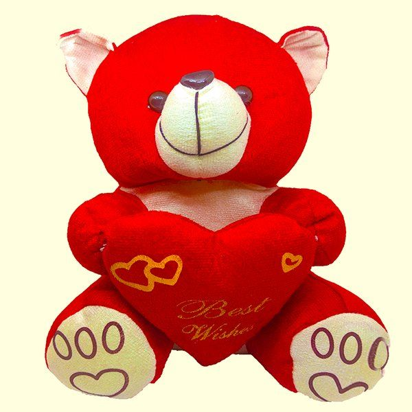 CakeZone Cute Soft Teddy Bear with Heart Personalized Anniversary Gifts