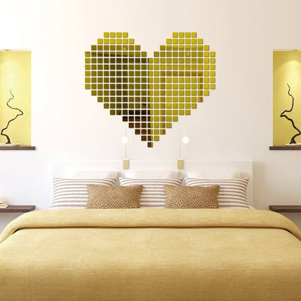 Incredible Gifts Incredible Gifts 3D Wall Decor Stickers - Square Mosaic (Gold) Valentines Day Décor
