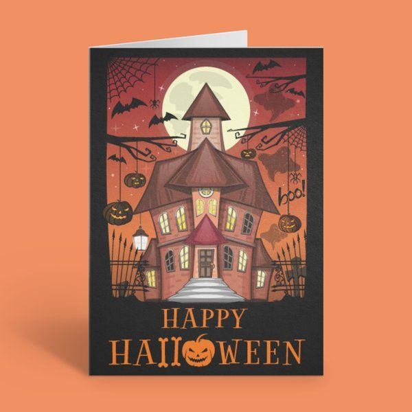 Privy Express Fancy House Party Halloween Wishes & Invitation Card Best Halloween Greeting Cards