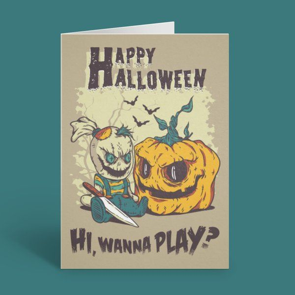 Privy Express Spooky Halloween Evil Doll and Pumpkin Greeting Card Best Halloween Greeting Cards