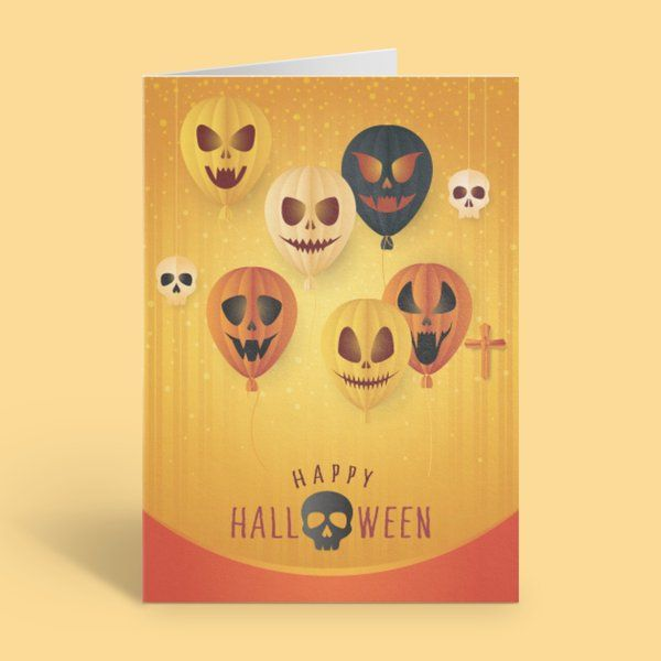Privy Express Scary Faced Vampire Ghost Balloons Happy Halloween Greeting Card Best Halloween Greeting Cards