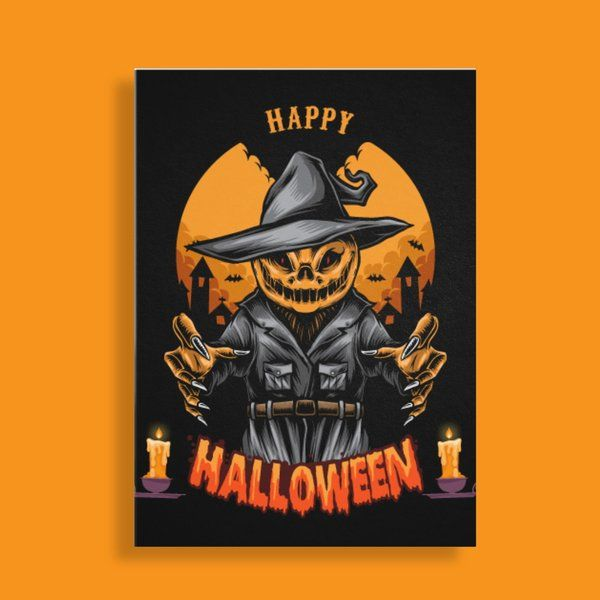 Privy Express Scary Scarecrow Theme Happy Halloween Wishes Card Best Halloween Greeting Cards