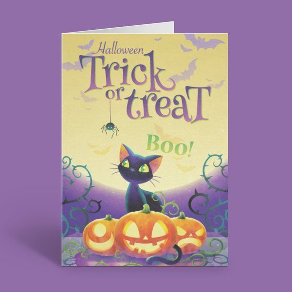 Privy Express Trick or Treat Black Cat and Pumpkin on the Full Moon Halloween Invitation Card Best Halloween Greeting Cards