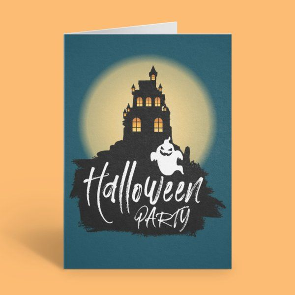 Privy Express Castle & Ghost Halloween Party Invitation Card Best Halloween Greeting Cards