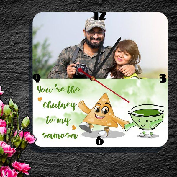 Zoci Voci Samosa Chutney Photo Frame Clock Personalized Anniversary Gifts