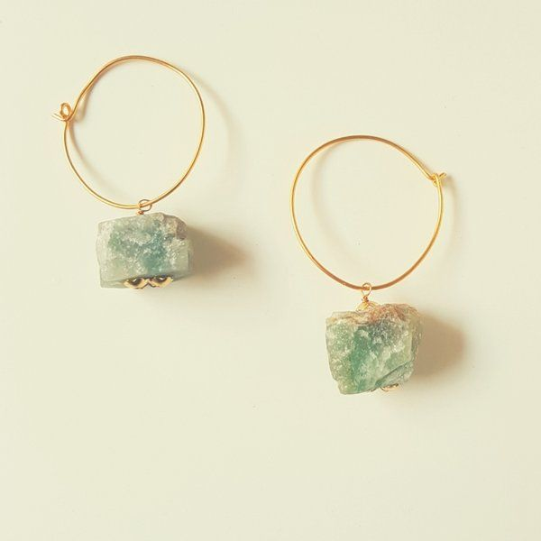 MyMeeraStore Jade Stone Hoop Earrings Personalized Anniversary Gifts