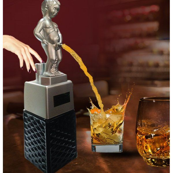 BarRaid Bonny Boy Liquor Dispenser Silver with Square Black Jar Birthday Gifts For Male Friend