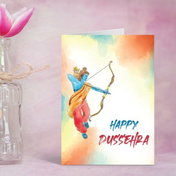 Handcrafted Happy Dussehra Art with Rama Navratri Whishes