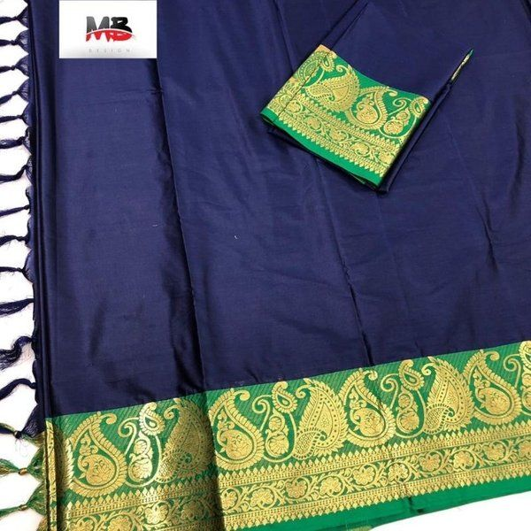 Hoods & Bonds Blue Green Cotton Silk Saree Meaningful Gifts For Mom