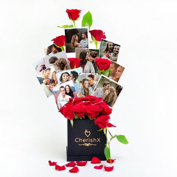Rose Bucket With Photos 1st Birthday Gifts for Husband After Marriage