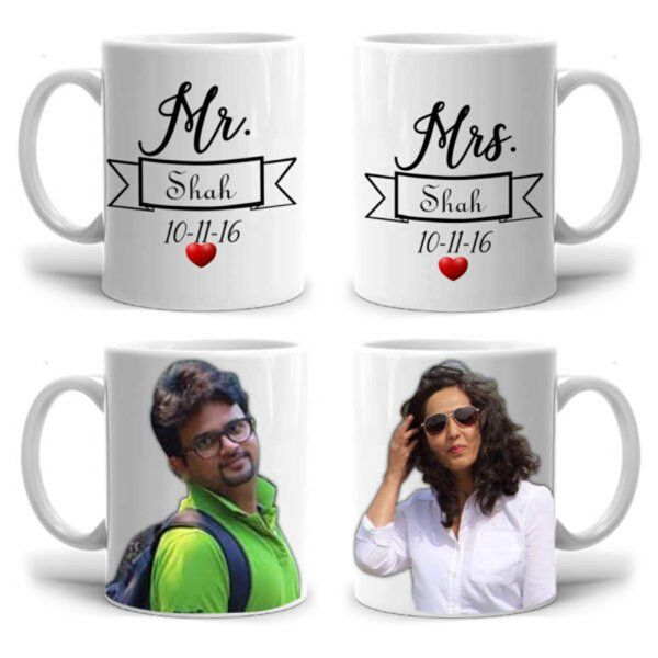 Zoci Voci Mr & Mrs Couple Mugs With Photos Gifts For Wife