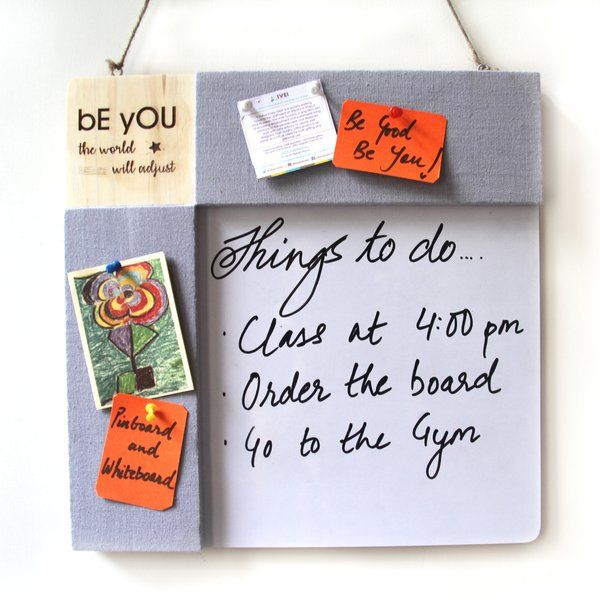 Ivei IVEI Pin Board + Whiteboard, Combination Board With Quotes - Grey Personalized Anniversary Gifts