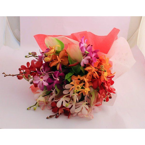 FlowerBox Orchids & Anthuriums Hand Bouquet Anniversary Gifts For Boys