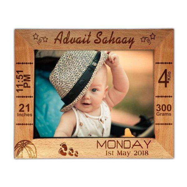 Zoci Voci Personalized Engraved Wooden Photo Frame Gifts For 1 Year Baby Girl