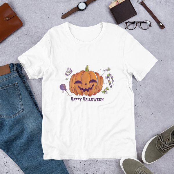 Privy Express Scary Smiling Pumpkin Halloween Costume T-shirt for Men Best Halloween Mens Costume Ideas