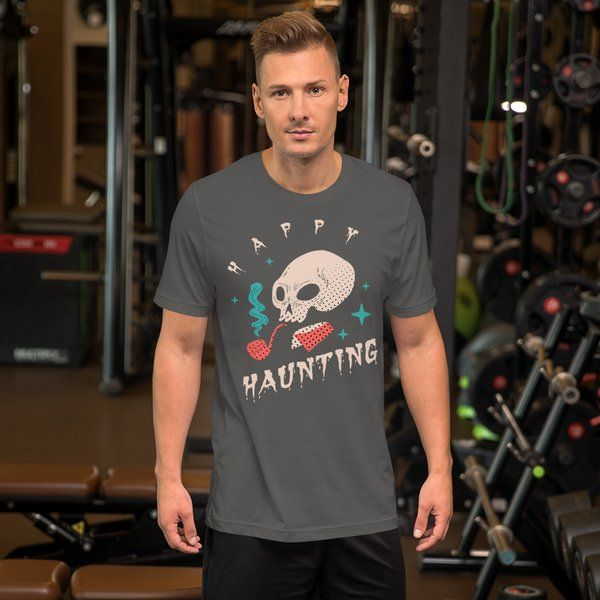 Privy Express Spooky Skull Haunting Halloween Costume T-shirt for Men Best Halloween Mens Costume Ideas
