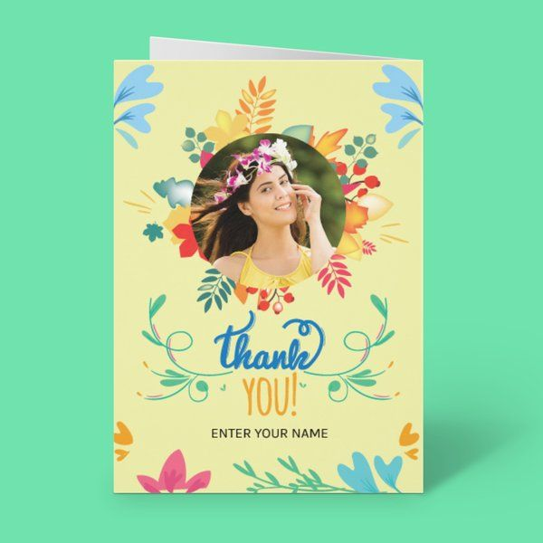 Privy Express Floral Photo Personalized Thank You Greeting Card Personalized Anniversary Gifts