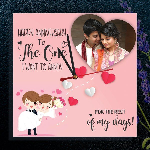 Anniversary Couple Personalized Wall Clocks with Pictures