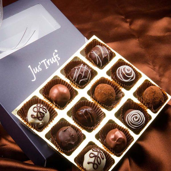 Jus'Trufs Chocolatiers  Belgian Style Pralines Box Of 12 Corporate Gift Ideas