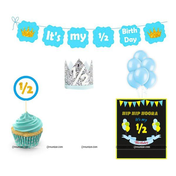 Untumble Boy's Half Birthday Decorations, Six Month Blue Birthday Party Kit Personalized Anniversary Gifts