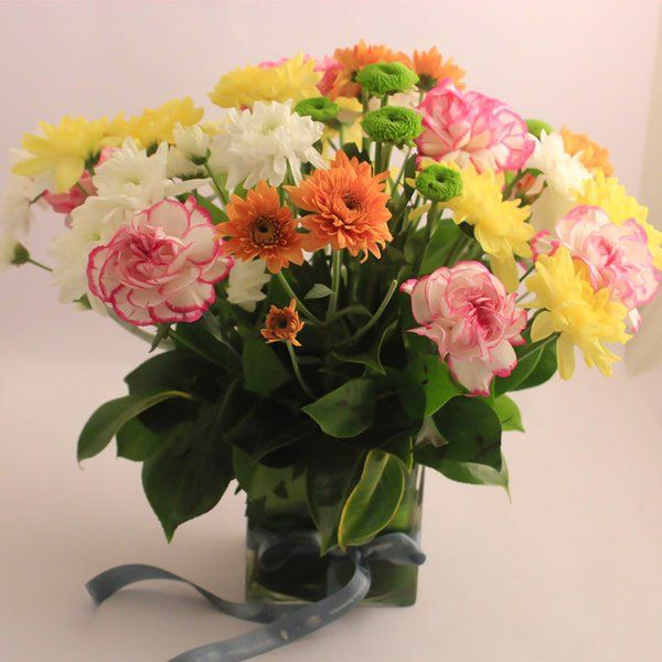 FlowerBox Carnations & Chrysanthemum In A 4x4 Glass Vase Anniversary Gifts
