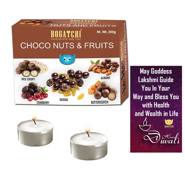Bogatchi Choco Fruits n Nuts With Two T Lights And Diwali Card Diwali Lights For Decortion