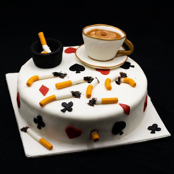 CakeZone Cigarette & Rummy Theme Fondant Cake Funny Gifts For Boyfriend