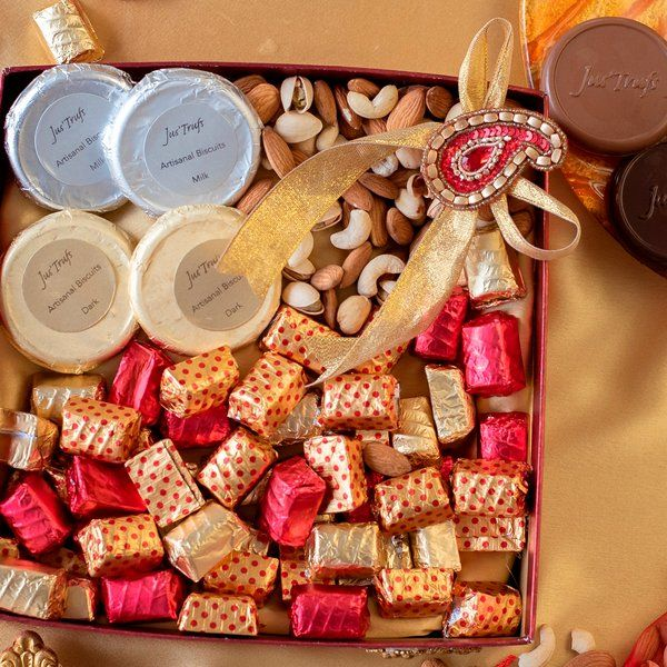 Jus'Trufs Chocolatiers Dry Fruits and Chocolate Cheer Hamper  Personalized Anniversary Gifts