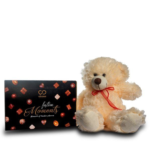 Chocodusk Festive Moments Chocolates with Teddy Bear  Personalized Gifts For Daughter