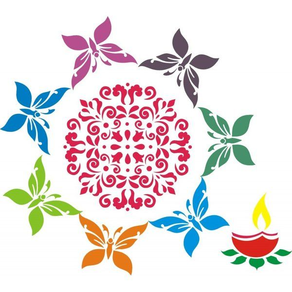 Incredible Gifts Floral with Butterfly Rangoli Stencil Combo Diwali Rangoli Designs