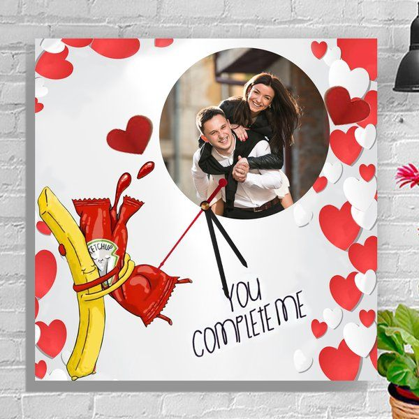 Zoci Voci Fries & Ketchup Photo Clock Personalized Gifts For Couples