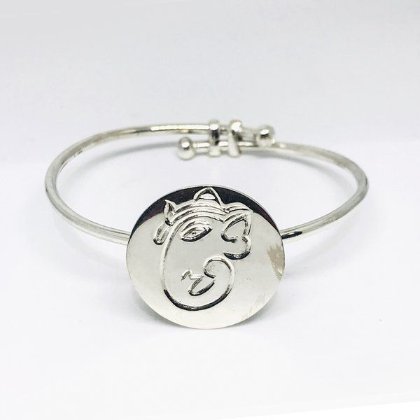 Divija Ganesh Embossed Flexible Divine Kada (Bracelet) Handcrafted Traditional Pure Sterling Silver Bracele Useful Gifts For Brother