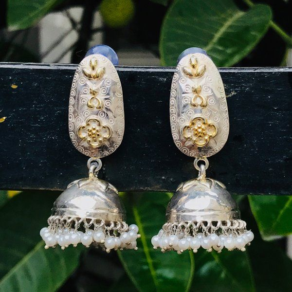 Divija Gold Plated Exotic Designer Jhumki Handcrafted Traditional Pure Sterling Silver Earring Expensive Gifts For Girlfriend