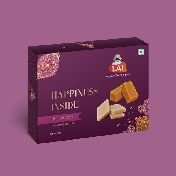 Lal Sweets Happiness Inside Festival Pack ( Mysore Pak + Kaju Katli) Corporate Gift Ideas