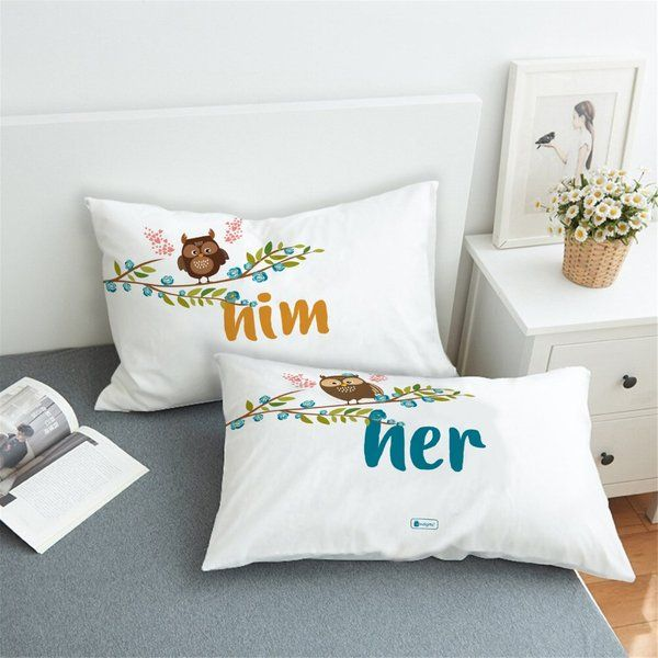 Indigifts Him and Her Set of 2 Pillows with Cover Anniversary Gifts