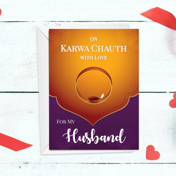 Privy Express Husband Special Happy Karva Chauth Wishes from Wife Greeting Card Karva Chauth Greeting Cards