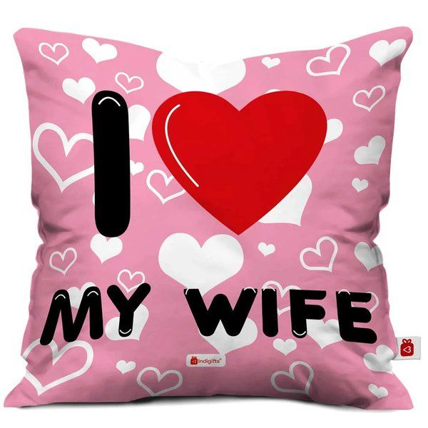 Indigifts I Love My WIFE Quote Seamless Heart Pattern With Quote Pink Cushion Cover Valentines Day Décor