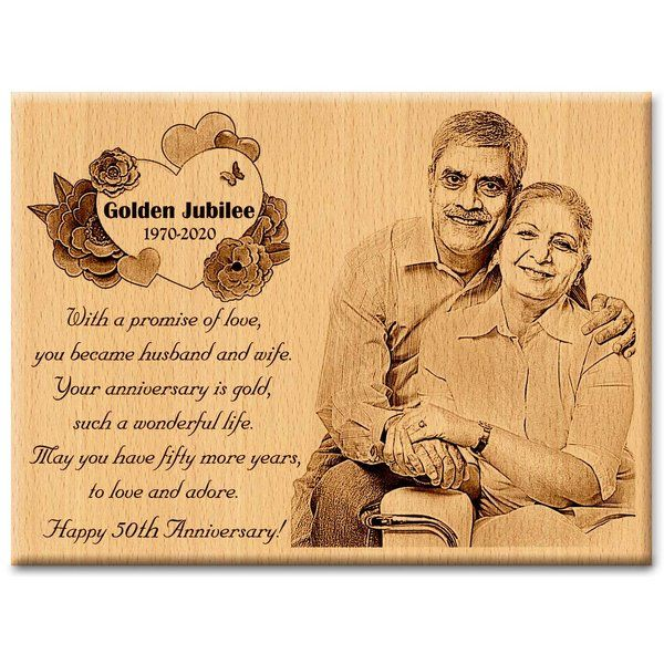 Incredible Gifts Incredible Gifts 50Th Golden Personalized Engraved Photo Anniversary Present (Wooden) Happy 60th Birthday Gifts