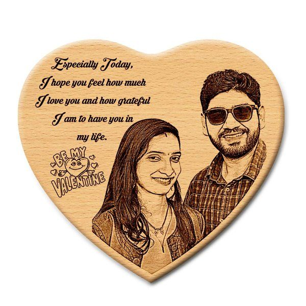 Incredible Gifts Incredible Gifts Heart Shaped Special Engraved Photo On Wood - Gift For Her And Him Personalized Gifts For Boyfriend