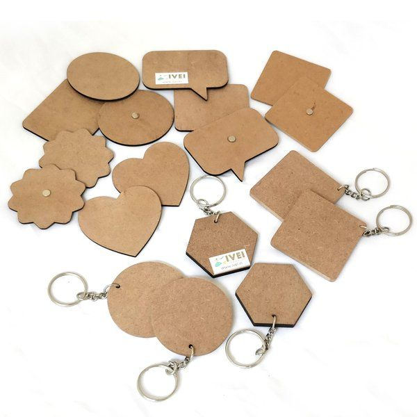 Ivei IVEI DIY MDF Keychains and Magnets - Set Of 18 (6 Keychains & 12 Magnets) Personalized Photo Keychains