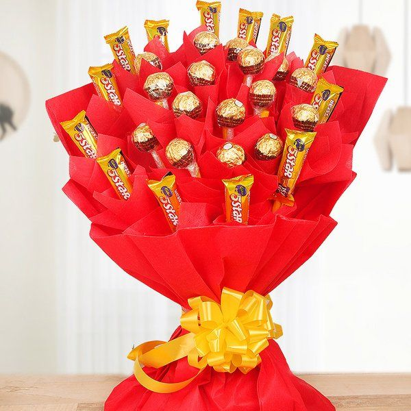 Mega Choco Bouquet Birthday Gifts for Long Distance Girlfriend