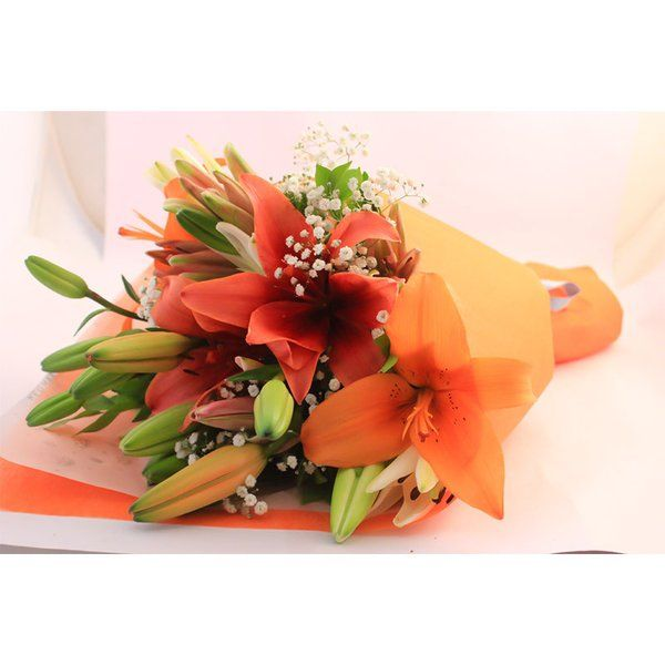 FlowerBox Mixed Asiatic Lilies Hand Bouquet Sorry Gifts