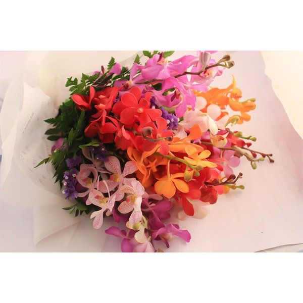 FlowerBox Mixed Orchids Hand Bouquet Wedding Anniversary Gifts For Parents