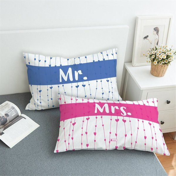 Indigifts Mr. and Mrs. Set of 2 Pillows with Cover Gifts For Couples