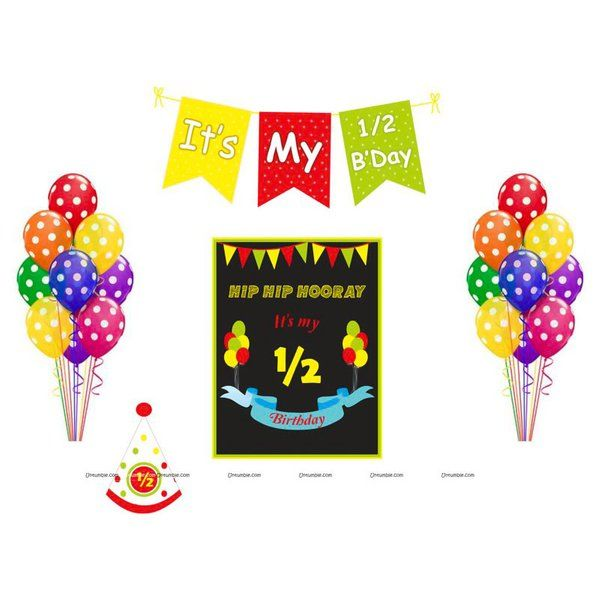Untumble Multicolour Half Birthday Six Month Birthday Pack Kit Personalized Anniversary Gifts