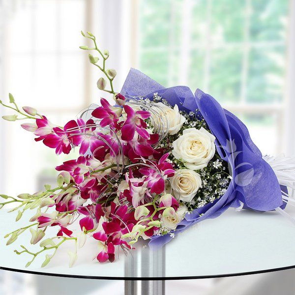 FlowerAura Orchid N Roses Birthday Gifts For Grandmother