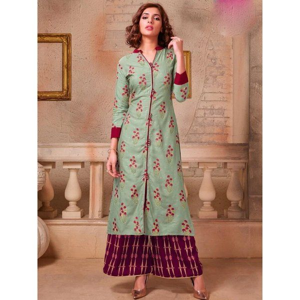 Best Birthday Gift for Long Distance Girlfriend Pearl Print Kurti & Plazzo
